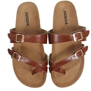 Shoes - Cognac crossing strap toe ring strappy cork sandal